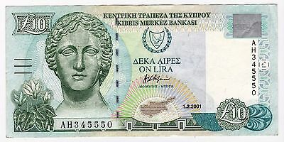 2001 Cyprus £10 Bank Note - Serial Number: Ah345550
