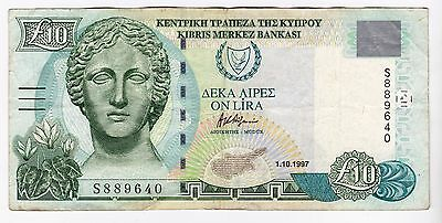1997 Cyprus £10 Bank Note - Serial Number: S889640