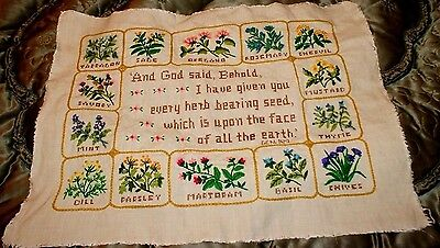 Needlepoint And Embroidered sampler. Herbs and flowers.