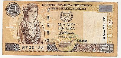 1997 Cyprus £1 Bank Note - Serial Number: N720128