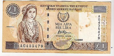 2001 Cyprus £1 Bank Note - Serial Number: Ag435479