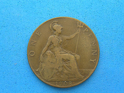 1908 Great Britain One Penny Coin, KIng Edward VII, 30.8 mm