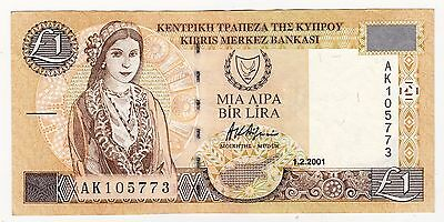 2001 Cyprus £1 Bank Note - Serial Number: Ak105773
