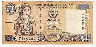 1998 Cyprus £1 Bank Note - Serial Number: Y540297