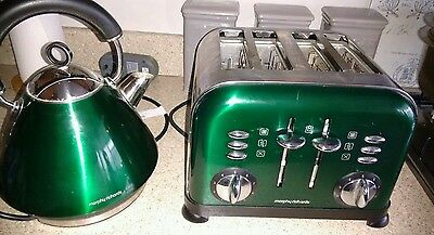 Morphy Richards Accents Metallic Green 4 Slice Toaster With Free Kettle**