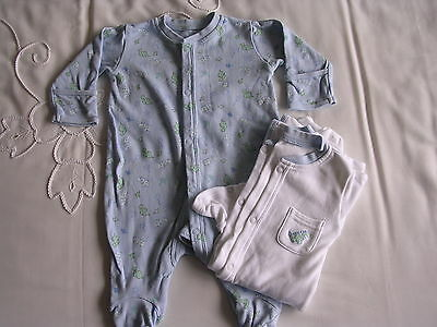 2 x boys sleepsuits age 0-3 mths white/blue dinosaurs long sleeves good con
