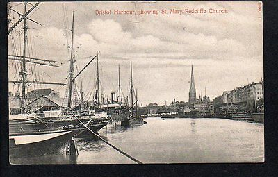 """BRISTOL HARBOUR & St  MARY REDCLIFFE Church + ships  """"AUGUSTA""""  etc"""