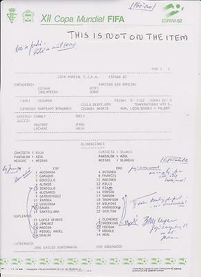SPAIN v ENGLAND 1982 WORLD CUP IN MADRID COLOUR TEAM SHEET