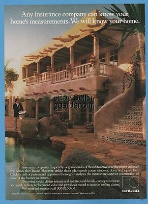 1987 Chubb Limited Home Insurance vintage photo ad