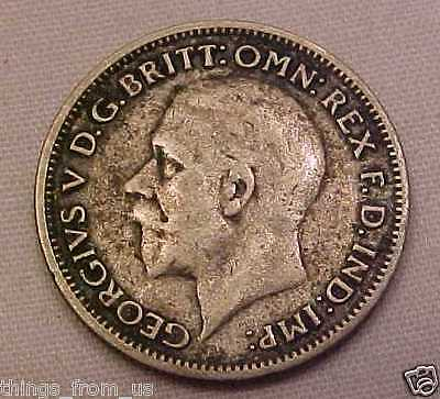 Good Grade British George V 1933 Silver Content Sixpence = Unwashed Great Detail
