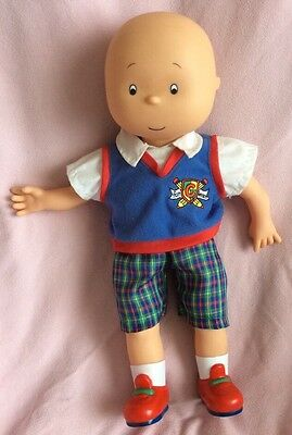 Caillou Talking Doll Speaks English Press On Tummy Plaid Shorts Blue Vest