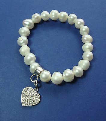 Real Cultured Pearl Bracelet with 925 Silver & Diamante Heart Charm