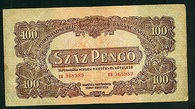 Hungary 1944 100 penco banknote in used condition