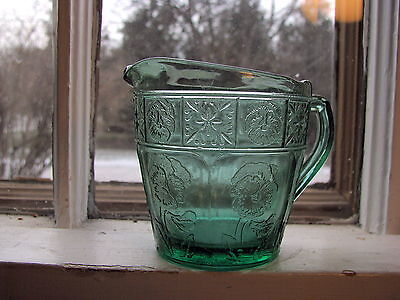 TEAL Doric & Pansy child's creamer Depression Glass Jeannette Glass Company
