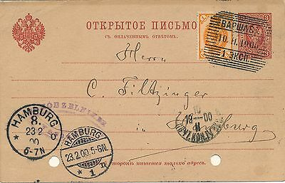 Poland 1900, Nice Stationery Card From Warsaw To Hamburg. #a2180