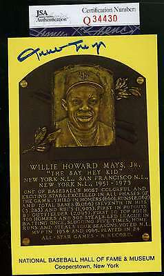 Willie Mays Gold Hof Plaque Jsa Signed Authenticated Autograph