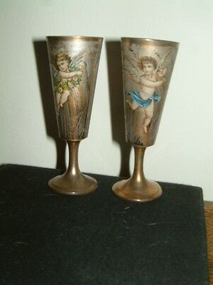 Pair Russian Vodka Cups Decorated With Cherubs