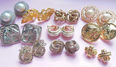 Vintage clip on earring lot x 10*1960's-80's*great mix of styles good to mint