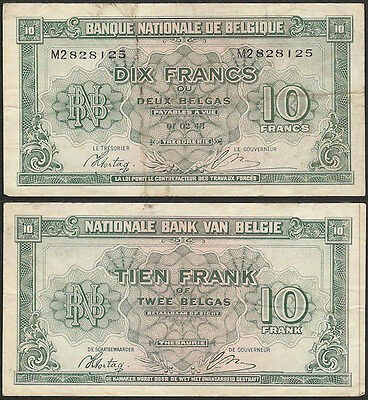 BELGIUM - 10 francs 1943 (1944) P# 122 Europe banknote - Edelweiss Coins