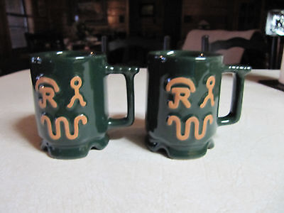 (2) Frankoma Ranch Dinnerware Cattle Brand Coffee Mugs Forest Green Glaze