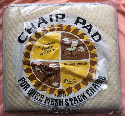 ParaDisE vtg beige chair pad NOS rare wire mesh stack pool patio mcm cal style