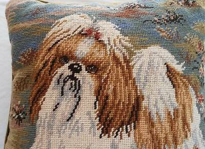 Vintage Wool Needlepoint Embroidered Throw Pillow Velvet Long Haired Dog