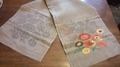 "Vintage   Linen Runner With Printed Design For  Hand Embroidery ""started"""