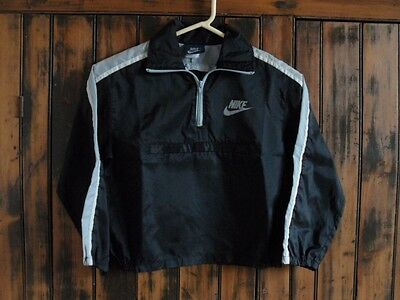 Vintage NIKE Blue Label 1980's CHILD'S NYLON WINDBREAKER Black/White/Gray