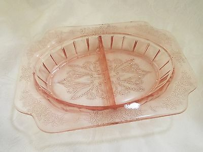 """Jeannette Glass  """"Adam"""" in Pink 1930's Depression Era Divided Relish Dish"""
