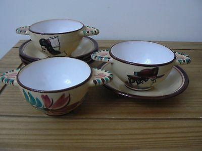 QUIMPER/FAIENCE Keralue France Twin handled cup with Saucer x 4 - Stunning
