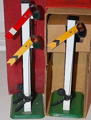 HORNBY SERIES O GAUGE No 2 DOUBLE ARM  AND SINGLE ARM SIGNALS BOTH BOXED