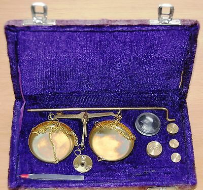 Traditional Brass Balance Scales With Weights & Tweezers In Original Box Used #