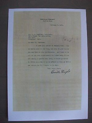 Copy of Signed Letter from Orville Wright dated February 7th 1929