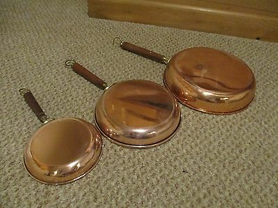 Set of 3 Vintage Copper Saute Frying Pans Fully Useable Good Linings Bargain!