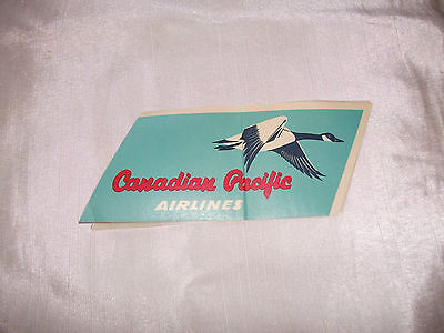 Vintage Original Canadian Pacific Airlines Gummed Luggage Label On Backing Gg+