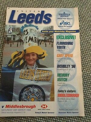 Match Programme Leeds V Middlesbrough Mar 1996