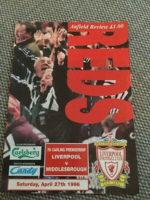 Match Programme Liverpool V Middlesbrough Apr 1996