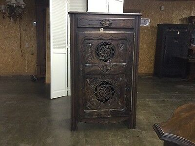 Country French Breakfast Cabinet Very Carved Solid Oak