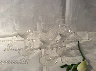 Set Of Four Pretty Vintage Crystal Sherry Or Shot Glasses Vgc