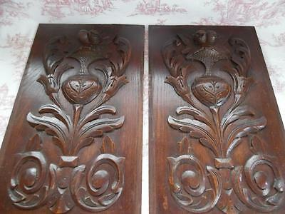 Pair Of Antique French Carved Oak Panels -Doors /  Shutters?