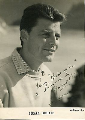 Autographe Dédicace ORIGINAL de l'acteur GERARD PHILIPE sur photo portrait  1959