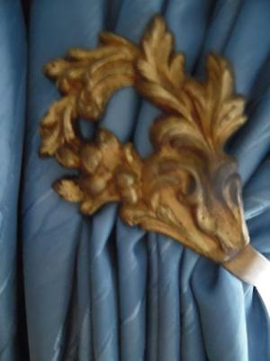 PAIR OF VINTAGE FRENCH GILT BRASS CURTAIN TIE BACKS / HOOKS -Articulated