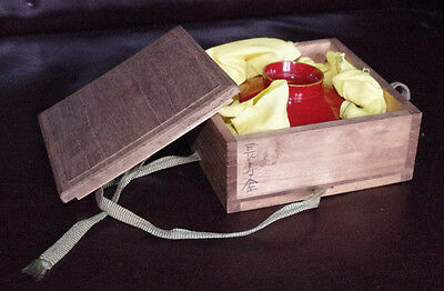 VINTAGE JAPANESE OCHOKO SAKE CUP IN ORIGINAL BOX: VGC Military Sakezuki