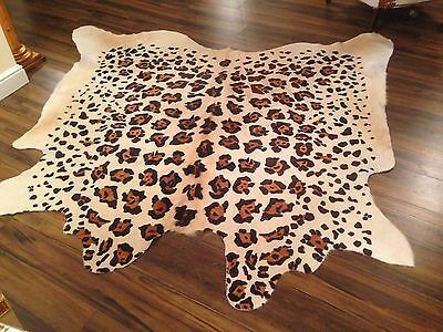 "New Leopard Print Cow Skin Cowhide Rug Size 84"" X 80"""