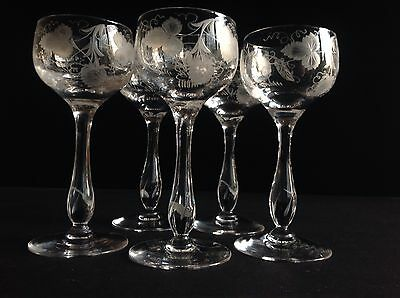 "5 Stuart Crystal Grape & Vine Hock Glasses 6 7/8"" Signed"