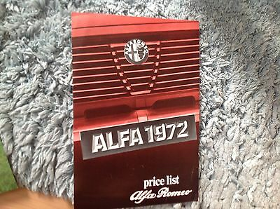 Alfa Romeo Range Price List 1972