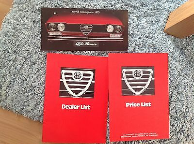 Alfa Romeo Range Brochure , Price List, Dealer List. 1975