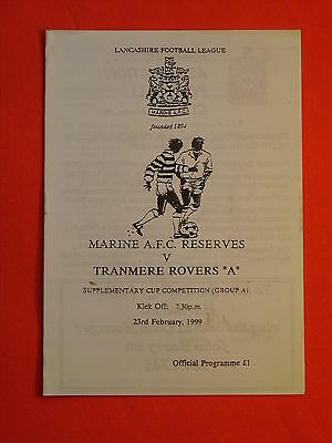 """Marine AFC Reserves v Tranmere Rovers """"A"""", Supplementary Cup  23rd Feb 1999"""