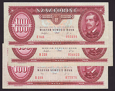 HUNGARY  -  lot of 3 pcs.  -  100 forint  -  new arms  -  P 174 a,b  -  VF