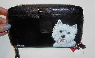 West Highland White Terrier Dog Hand Painted Leather wallet for women